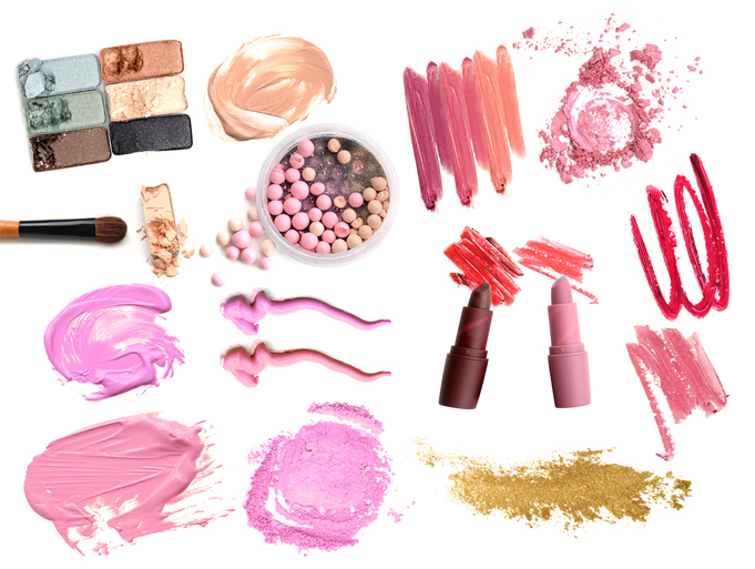 Collage of make up cosmetics on white background. Beauty and makeup concept