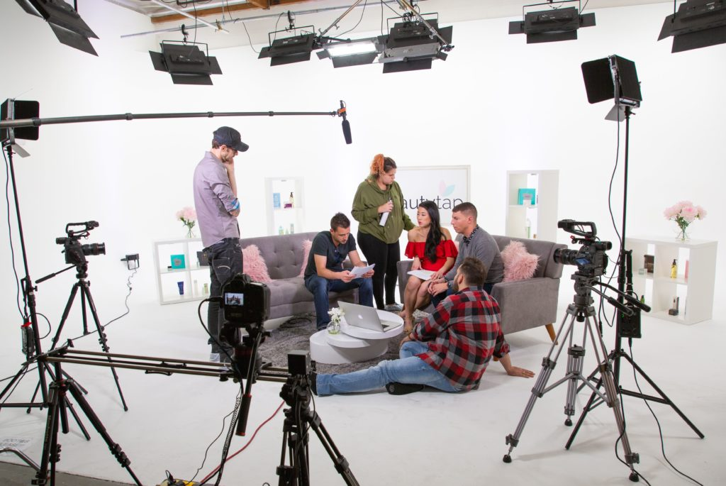 BeautytapTV set with cameras and actors